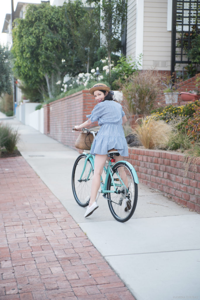 Blue Gingham Dress Bike Ride