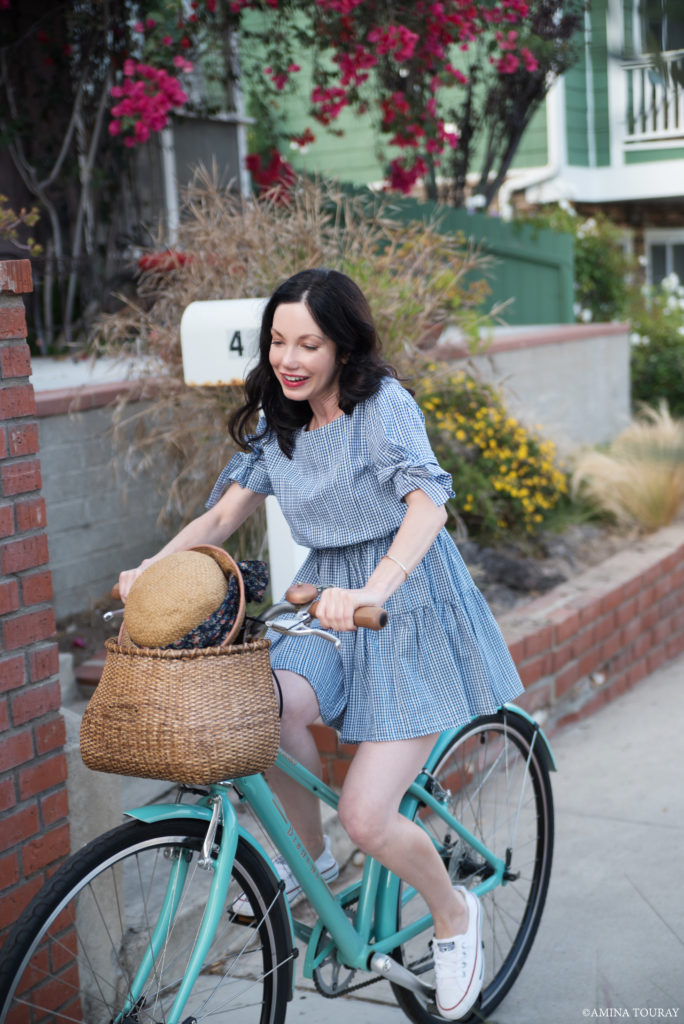 Blue Gingham Dress Bike Ride