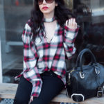 Zara Plaid Choker Blouse