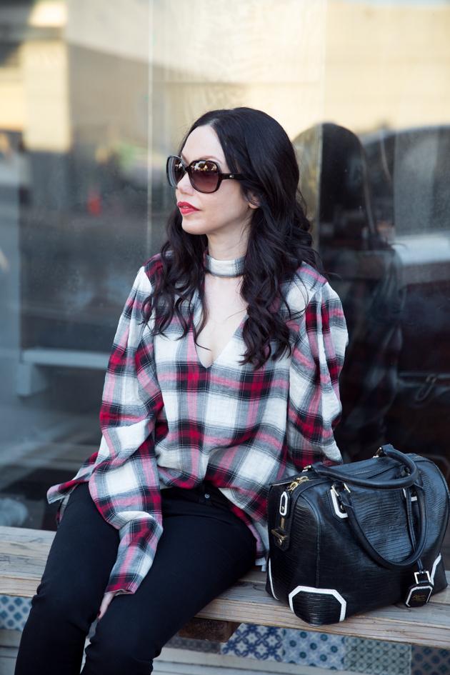Zara Plaid Choker Blouse
