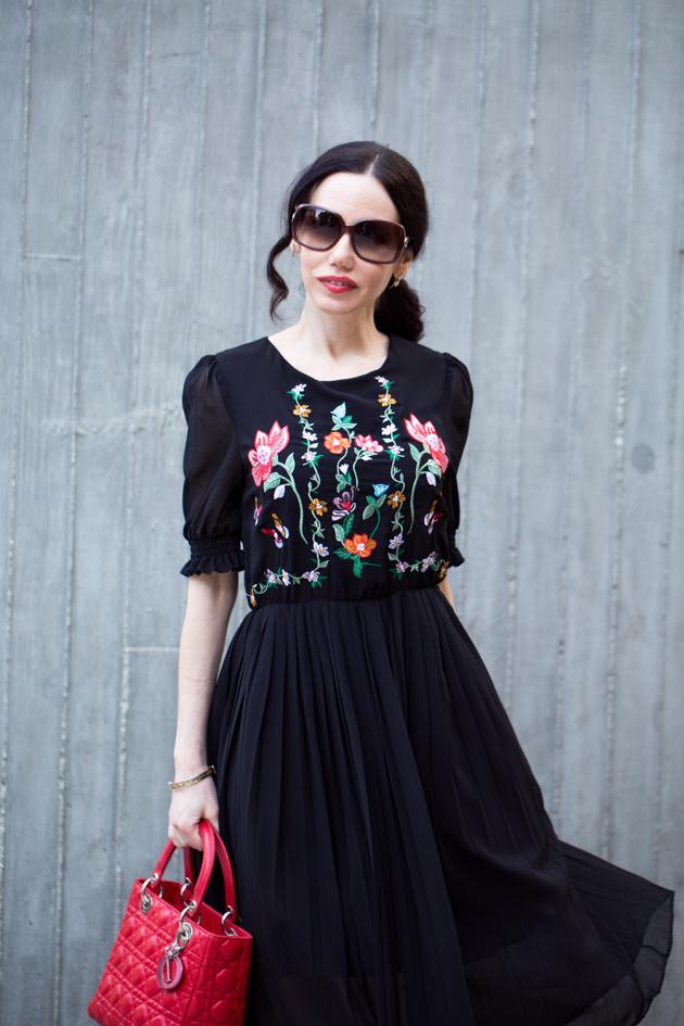 Black Embroidered Floral Dress