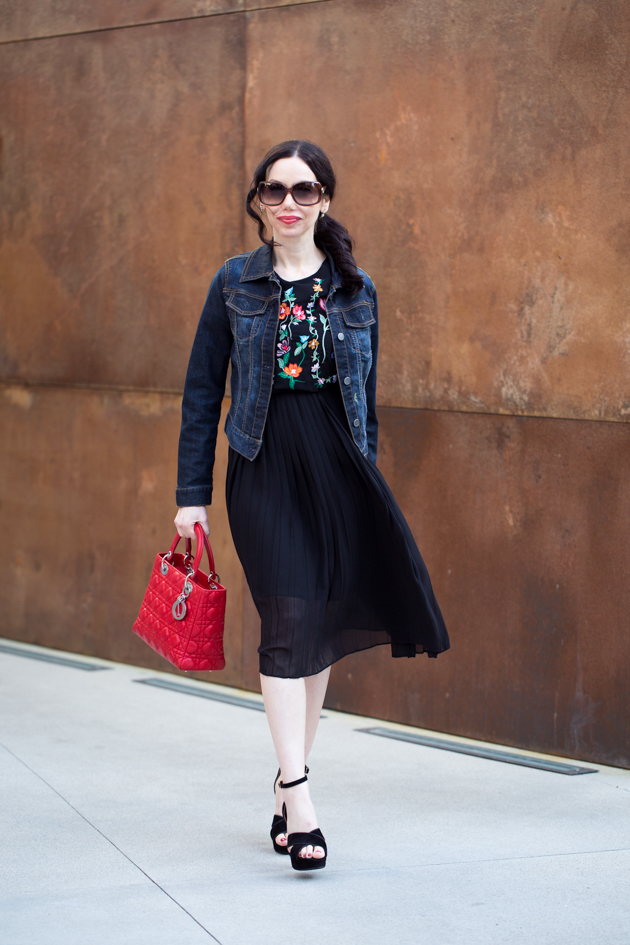 Black Embroidered Floral Dress