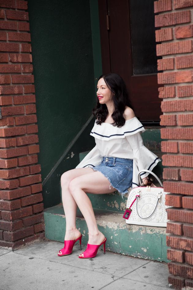 Fashion Blogger Lisa Valerie Morgan wears Storets off shoulder top