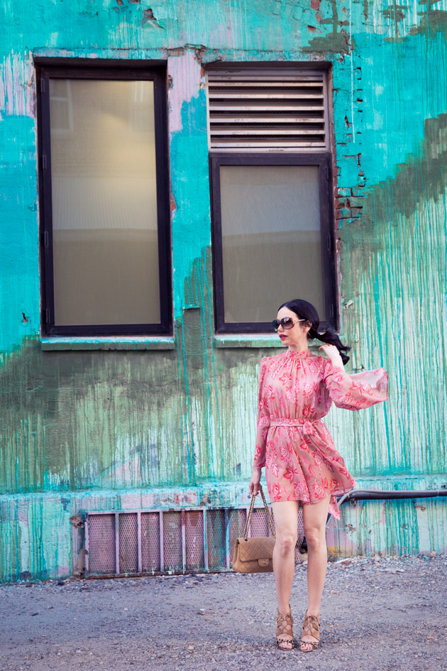 Pretty Little Shoppers Blog wears Metisu Pink Romper