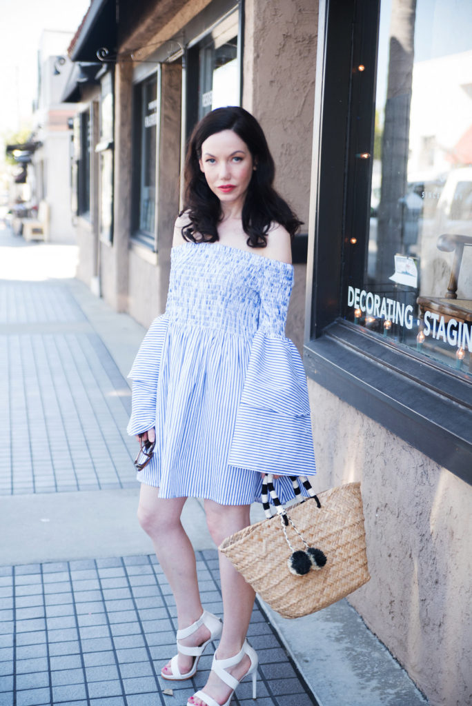Pretty Little Shoppes Blog wears Goodnight Macaroon Striped Bell Sleeve Dress