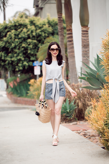 Lisa Valerie Morgan wears Metisu Top and J. Crew Shorts