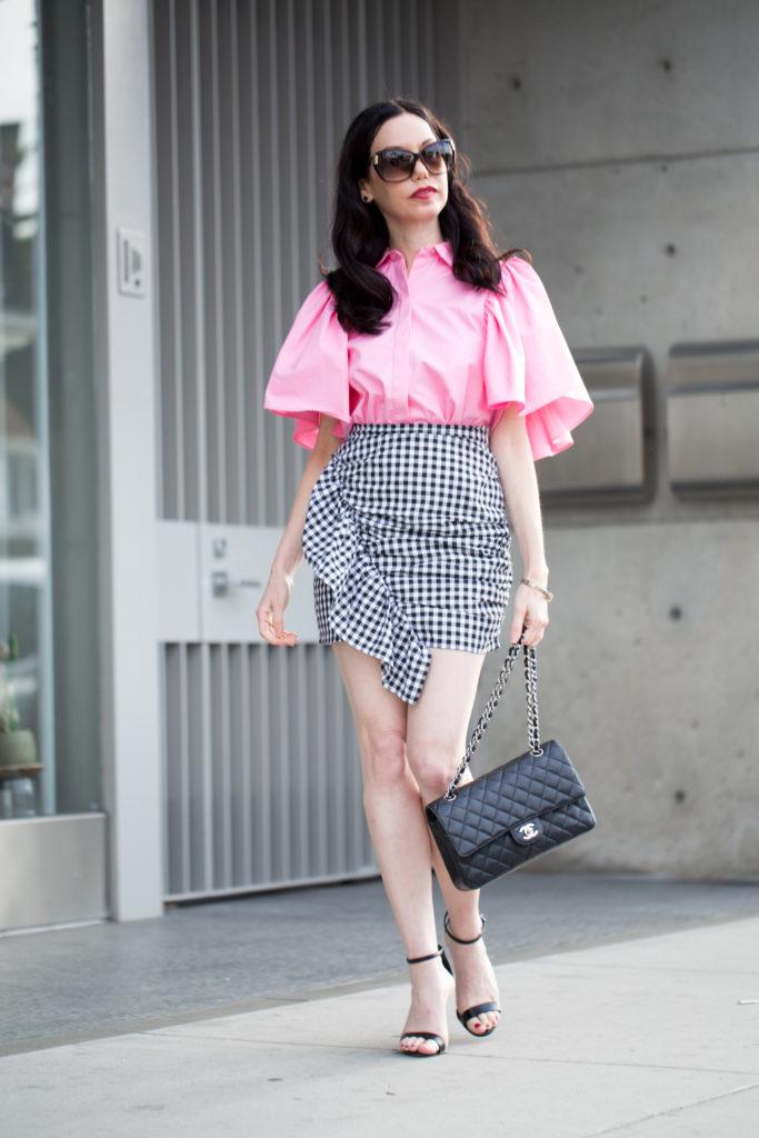 Storets Gingham Skirt and Zara Ruffled Blouse