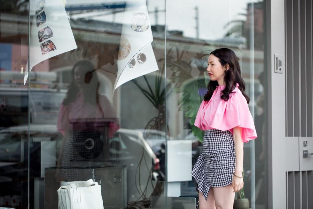 Pretty Little Shoppers Blog wears Storets Gingham Mini Skirt