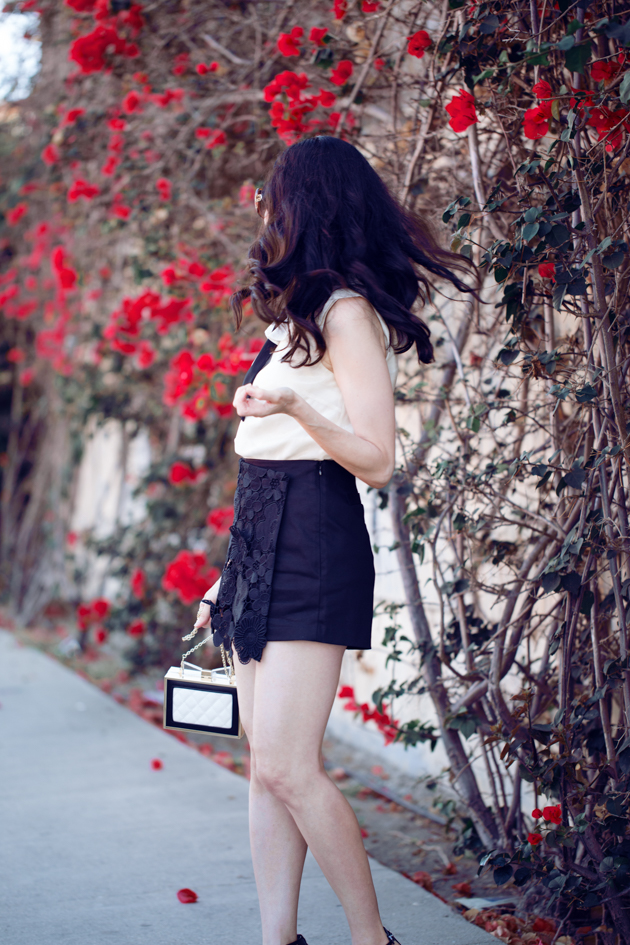 Pretty Little Shoppers Blog wears Storets Lace Shorts