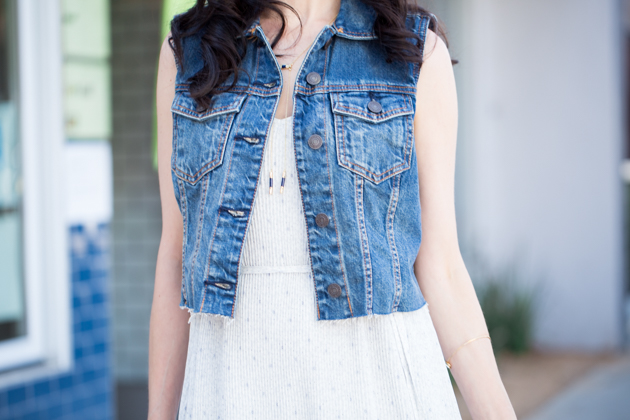A&F Denim Vest and House of Harlow 1960 Necklace