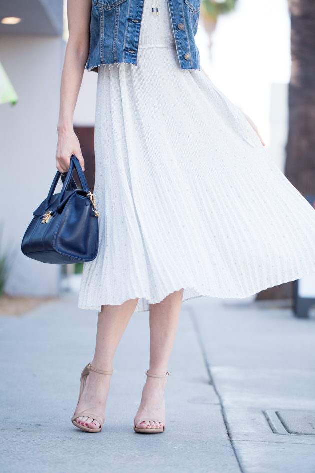 Abercrombie & Fitch Chiffon Pleated Midi Dress
