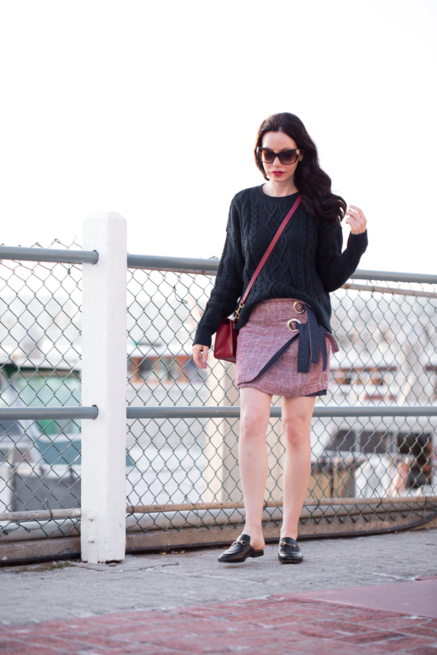 A&F Cable Knit Sweater and Storets Tweed Skirt - Pretty Little Shoppers Blog