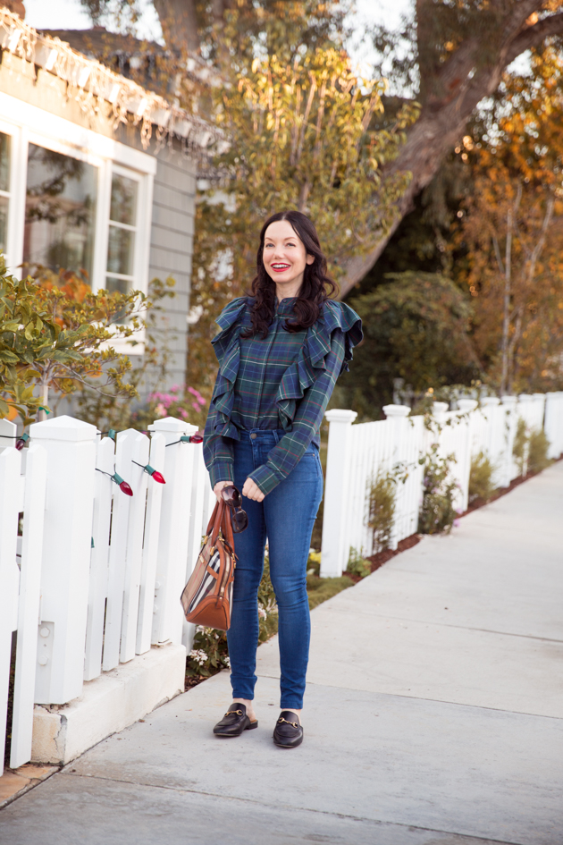 Plaid and Ruffled Blouse