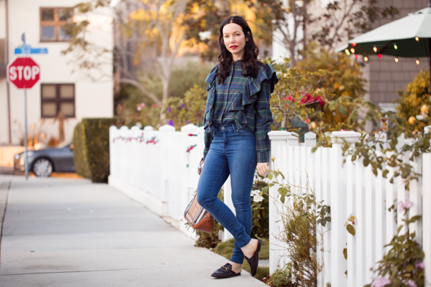 Lisa Valerie Morgan wears Plaid and Ruffled Blouse