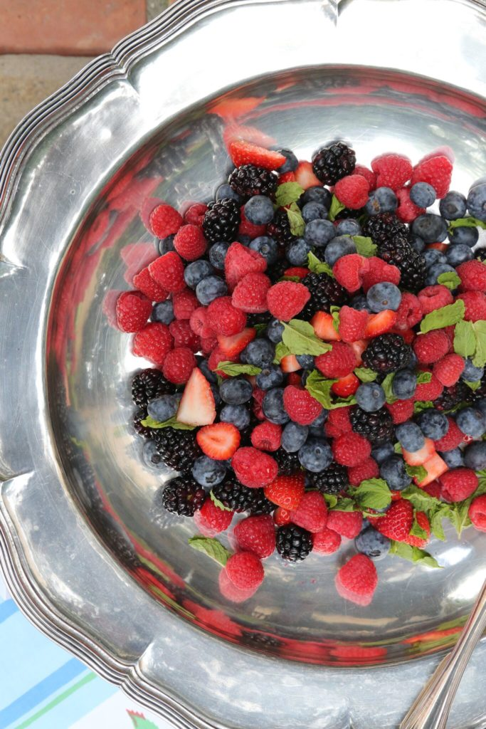 Gluten Free Tea Sandwiches recipe featured by top LA lifestyle blog, Pretty Little Shopper: Berry Salad with Mint