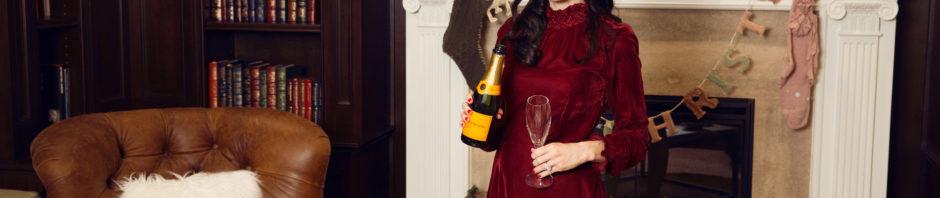 Lisa Valerie Morgan wears Maje Red Velvet Dress