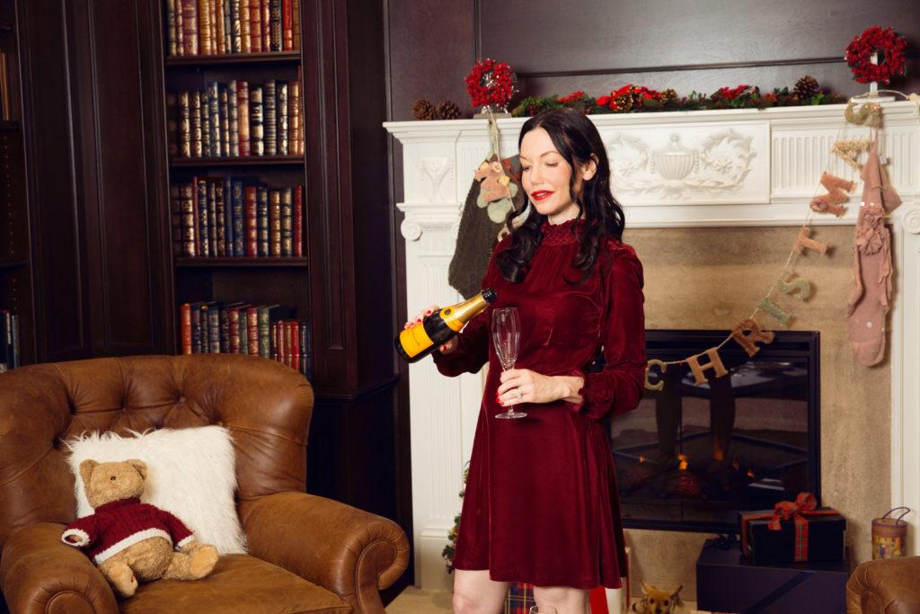 Maje Red Velvet Dress - Pretty Little Shoppers Blog