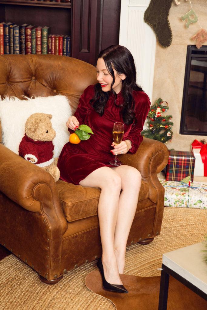 Maje Red Velvet Dress - Pretty Little Shoppes Blog