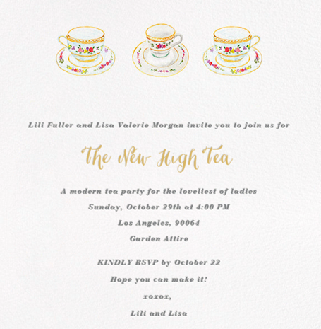 High Tea Party Invitation with Paperless Post
