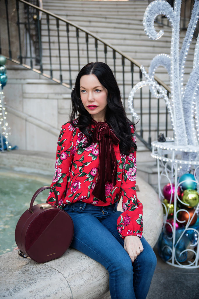 Zara Red Floral Blouse