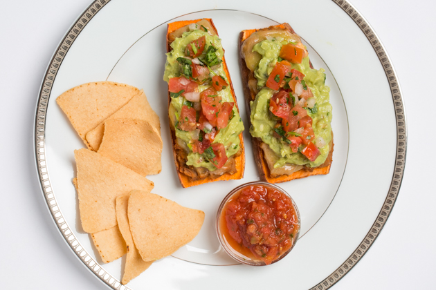 Sweet Potato Toast-ada with Grain Free Chips and Salsa
