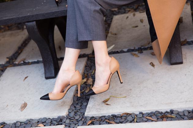 Shoes of Prey Camel Pumps with Black Cap Toe