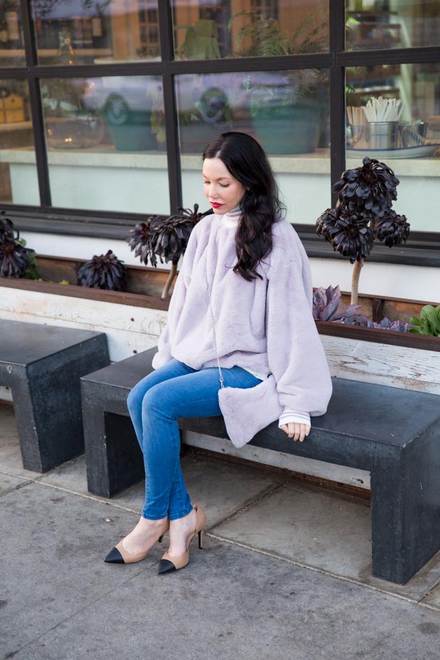 Storets Faux Fur Sweatshirt wth Mott & Bow Jeans