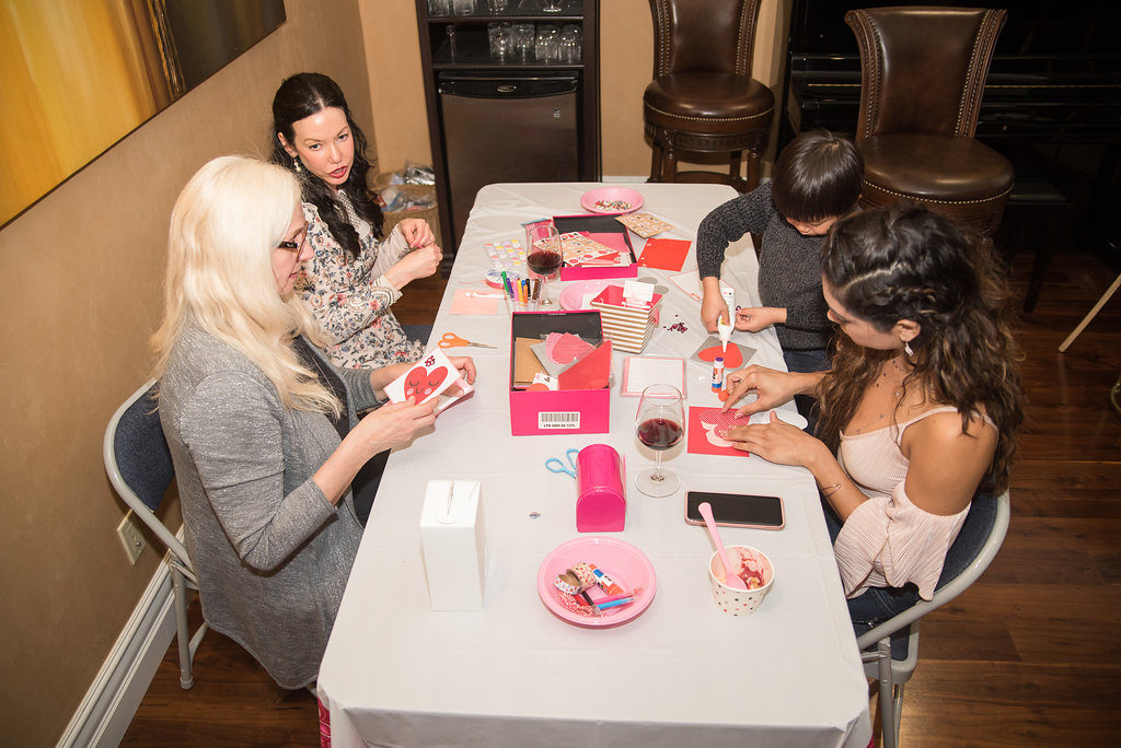Galentine's Day Soiree Card Making Table