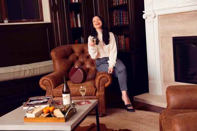 H & M Top and Slacks, Zara Pumps, Decoy Wine