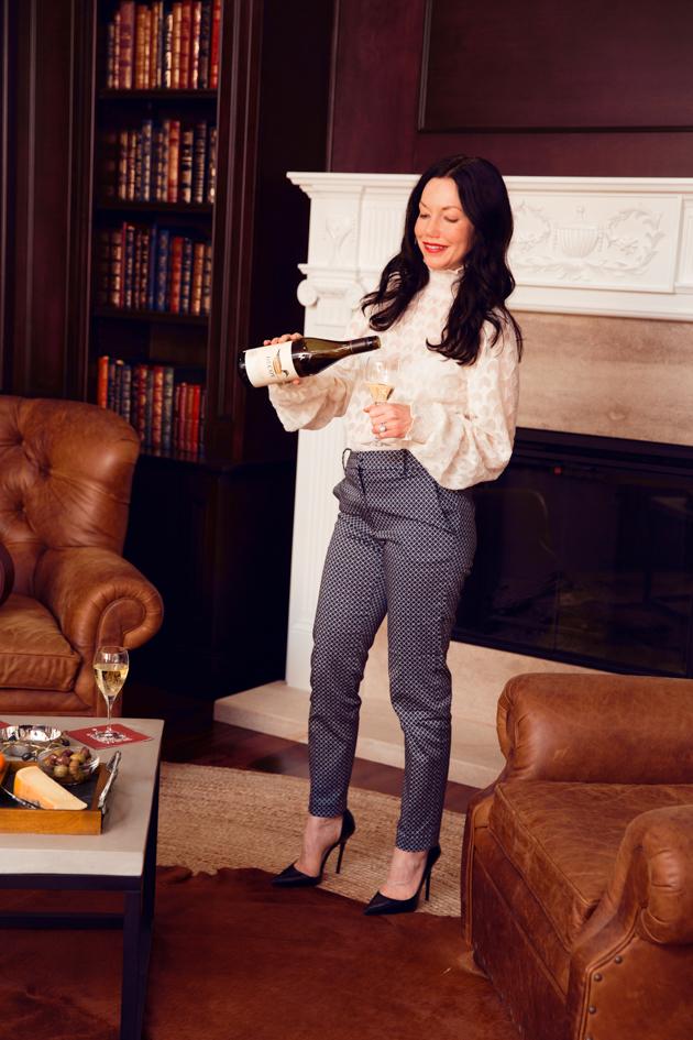 Decoy Wine, H & M Top and Slacks