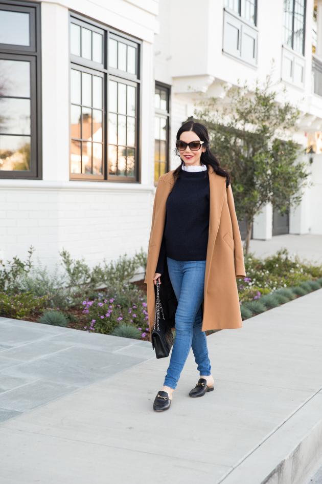 Zara Camel Coat, Mott & Bow Jeans, Gucci Loafers
