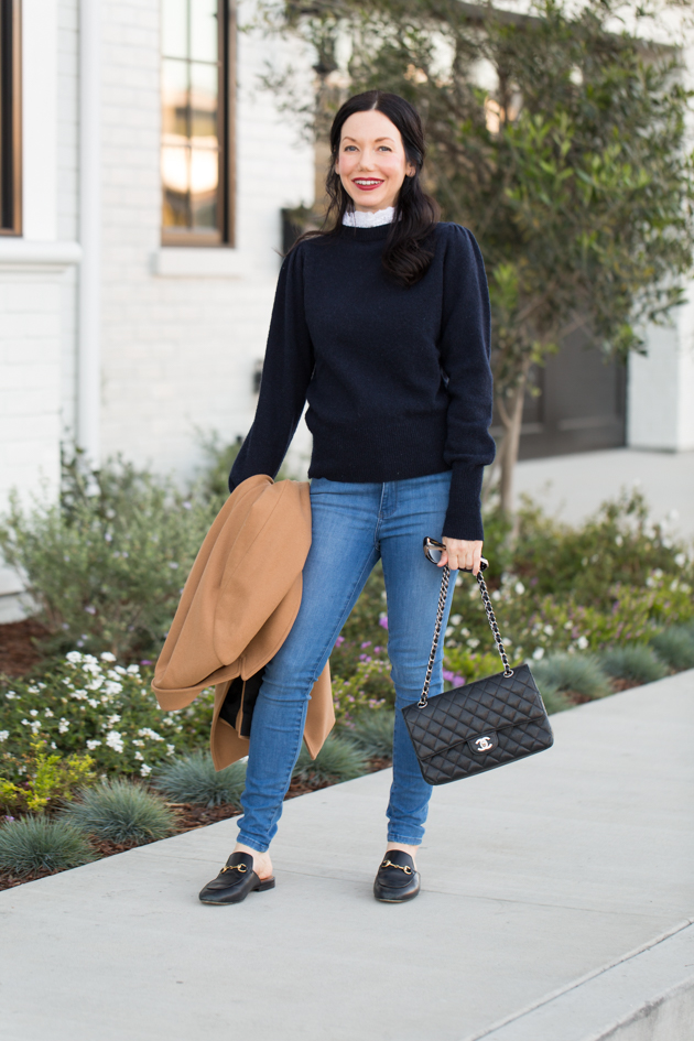 Sandro Paris Sweater, Mott & Bow Jeans, Gucci Loafers