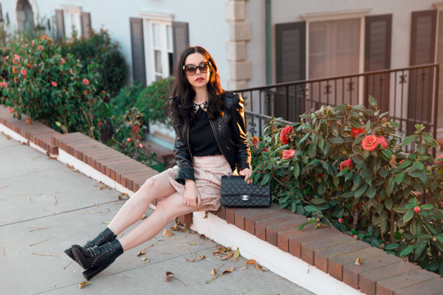 How to Dress Like a Londoner, Black Leather Jacket, Tommy Hilfiger Studded Ankle Boots