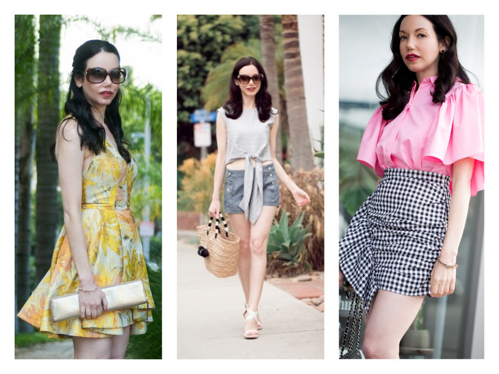 5 Classic Spring Essentials You Need featured by top LA fashion blog, Pretty Little Shoppers: Floral Dress, Straw Tote Bag, Gingham Romper