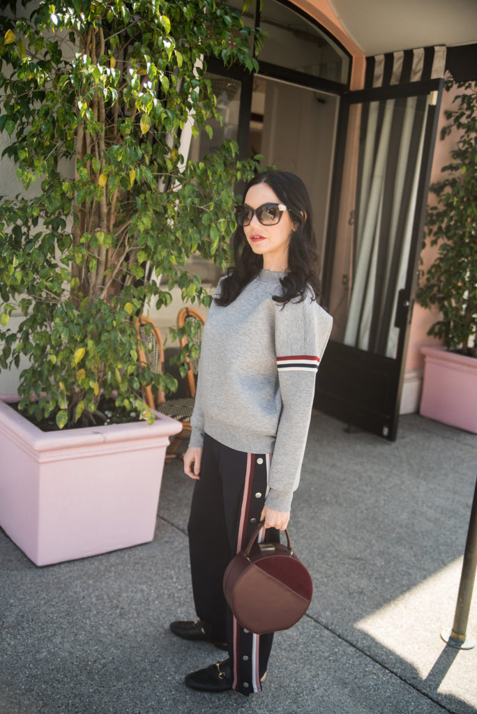 H&M Sweatshirt and Striped Pants, Athleisure Wear Style,