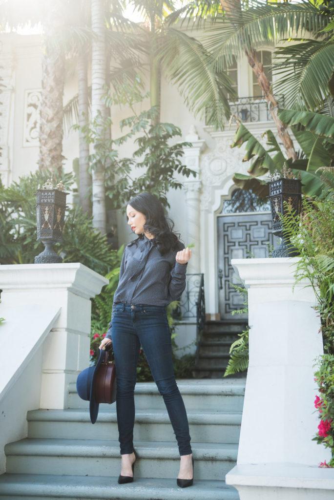 Tommy Hilfiger tie neck blouse, San Diego Hat Company floppy fedora, Mott & Bow jeans, Zara Pumps, Tammy & Benjamin Bag, Los Angeles Fashion Blogger