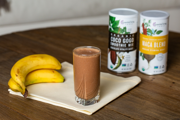Chocolate Banana Adaptogen Smoothie, Essential Living Foods, Healthy Recipe