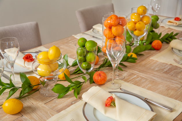 Spring Citrus Tablescape, Williams Sonoma Linen Napkins, Home Decor