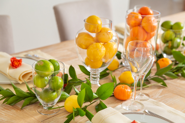 Lemons, Limes and Clementines, Spring Citrus Tablescape, Apothecary Jars