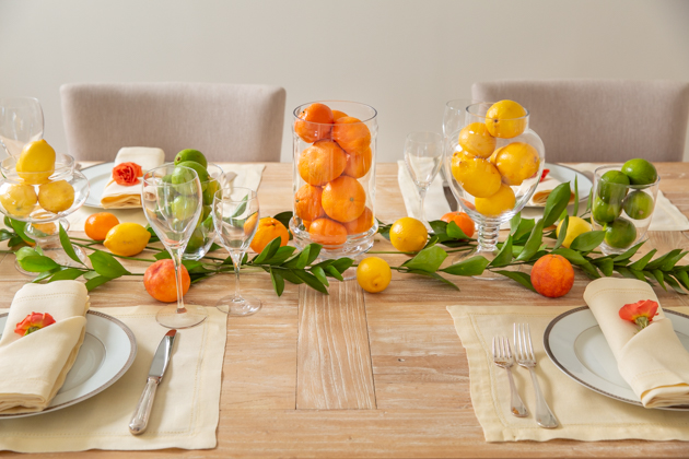 Spring Citrus Tablescape, lemons, limes and clementines, entertaining ideas, Spring Decor