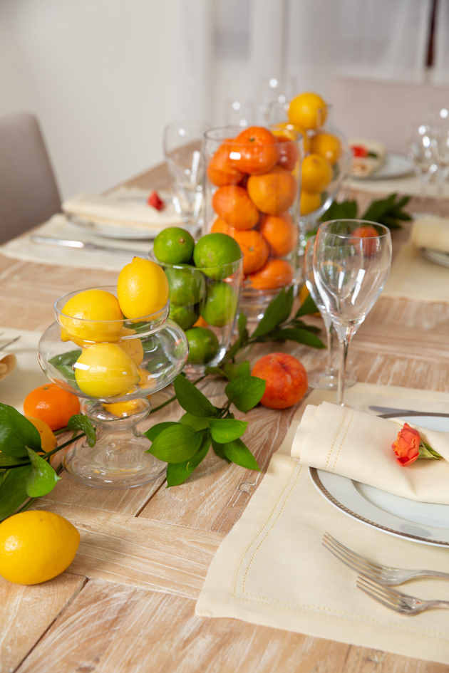 Spring Citrus Tablescape, Lemons, Limes and Clementines, Dinner Party Table
