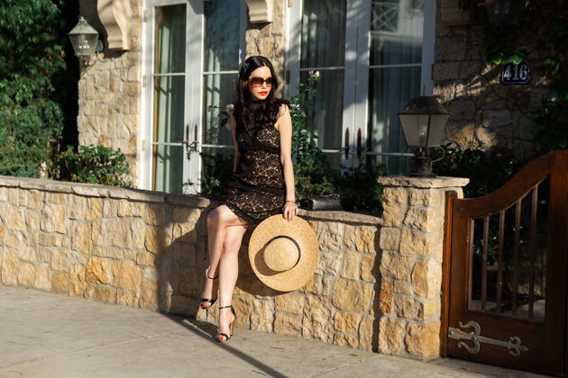 Lack of Color Boater Hat, Skylar Belle Black Lace Dress