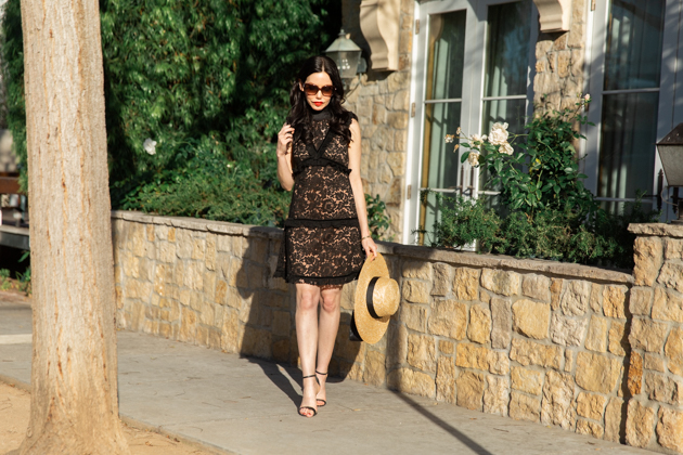 Lack of Color Boater Hat, Skylar Belle Black Lace Dress, Schutz Black Sandals, Chanel Sunglasses, Chanel Bag