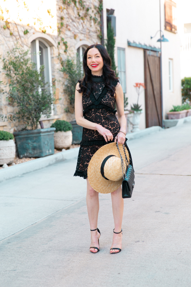 Lack of Color Boater Hat, Skylar Belle Black Lace Dress, Schutz Black Sandals