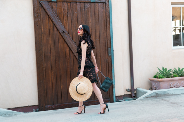 Skylar Belle Black Lace Dress with Lack of Color Spencer Boater Hat