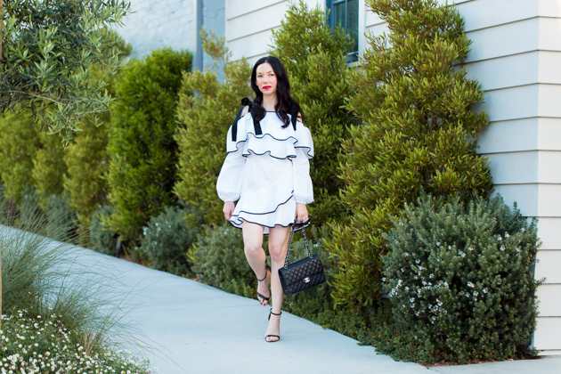 Petersyn Ruffled Dress, Schutz Sandals, Chanel Quilted Bag, Spring Style, Outfit Ideas, Revolve Clothing, Lisa Valerie Morgan, Pretty Little Shoppers Blog, Los Angeles Fashion Blogger