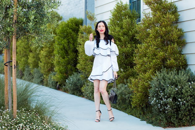 Petersyn Ruffled Dress, Schutz Sandals, Chanel Quilted Bag, Spring Style