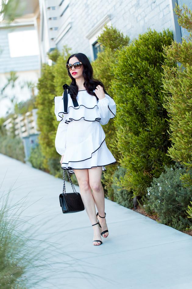 Revolve Clothing Petersyn Ruffled Dress, Schutz Sandals, Chanel Bag, Los Angeles Fashion Blogger