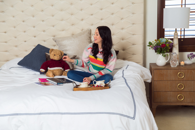 High Tea Party in Bed with Crown Goose Bedding, Teddy Bear, Home Decor, Home Interior