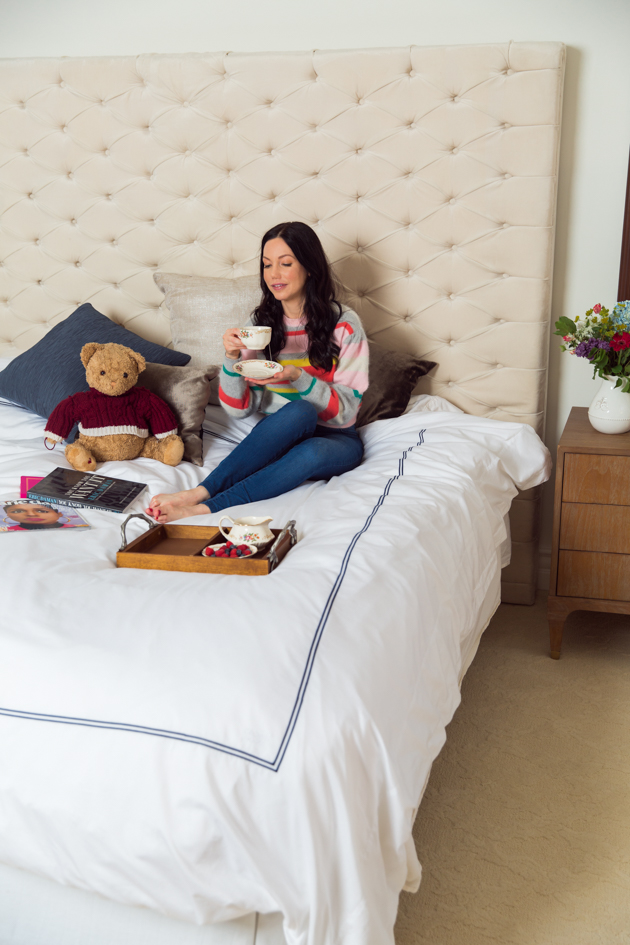 High Tea in Bed with Crown Goose Bedding, Hotel Quality Duvet Cover, Home Interiors, Home Decor, Teddy Bear